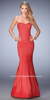 La Femme Striped Two Tone Sweetheart Mermaid Prom Dress