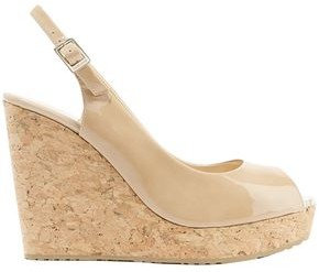 Jimmy Choo Prova 120 Patent-leather Slingback Wedge Sandals