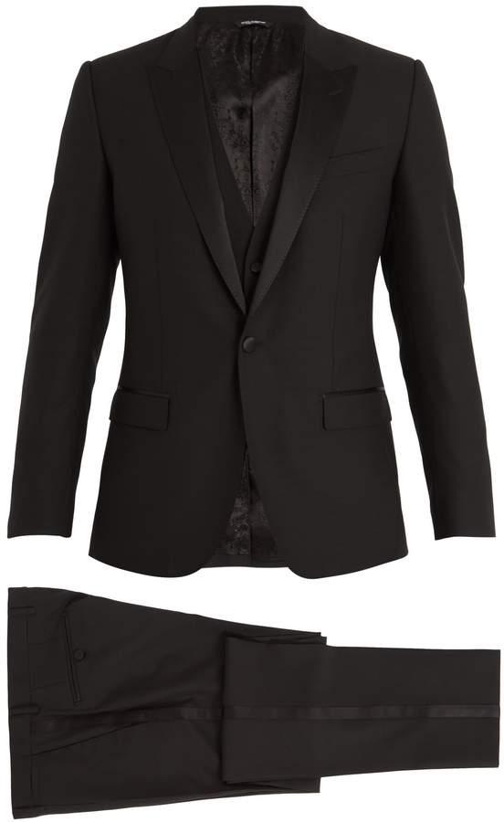 Dolce & Gabbana Single-breasted satin peak-lapel wool-blend tuxedo