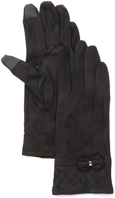 Jeanne Simmons Accessories Women's Casual Gloves Black - Black Plush Leather-Blend Touchscreen Gloves - Women