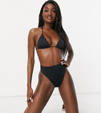 Asos Tall ASOS DESIGN tall recycled mix and match high leg high waist thong bikini bottom in black