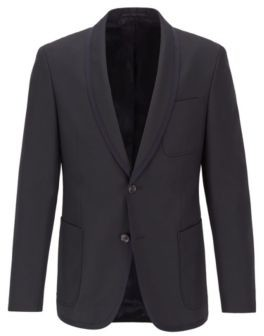 Slim-fit jacket with contrast-edge shawl lapels