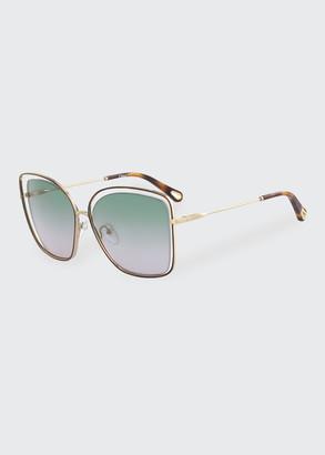 Chloé Poppy Cutout Metal Square Sunglasses