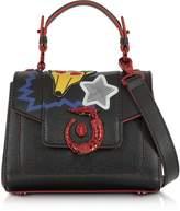 Trussardi Lovy Black Saffiano Leather Mini Crossbody Bag w/Emoticon Embroidery