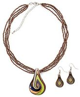 JCPenney East 5th® Box Bronze-Tone Glass Swirl Necklace & Earrings Set