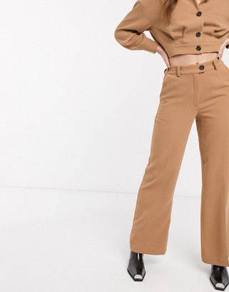 NA-KD co-ord wide leg cropped tailored trousers in beige