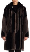 Gorski Reversible Striped Mink Stroller Coat