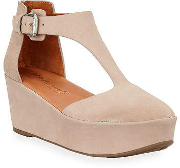 Gentle Souls Nydia Closed-Toe Platform T-Strap Sandals