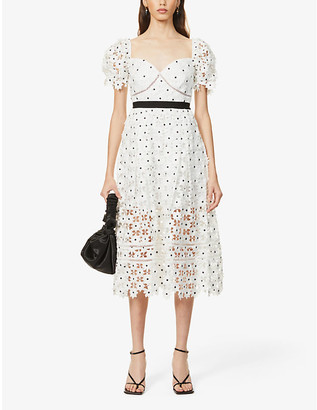 Self-Portrait Floral-embroidered lace midi dress