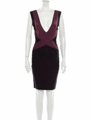 Herve Leger Plunge Neckline Mini Dress Black