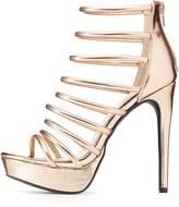 Charlotte Russe Qupid Metallic Caged Tubular Platform Sandals