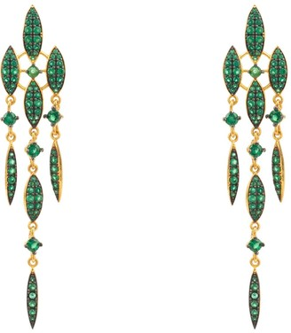 Latelita Valencia Statement Drop Earring Emerald Green Cz Gold