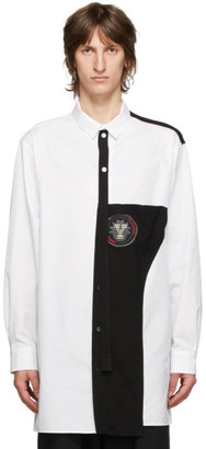 Yohji Yamamoto White and Black Colorblocked Shirt