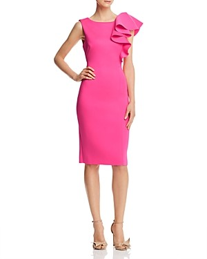 Brinker & Eliza Asymmetric Draped Ruffle Sheath Dress
