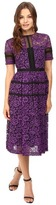 Donna Morgan Short Sleeve Lace Paneled A-Line Dress