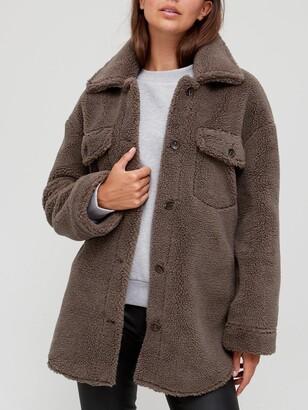 Very Teddy Faux Fur Shacket - Fawn