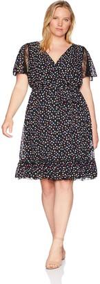 Sangria Women's Plus Size Lace Trim Fit & Flare Dress