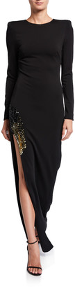 HANEY Gia Long-Sleeve Side-Slit Gown w/ Embellishment