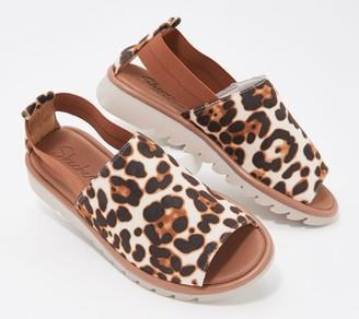 Skechers Open-Toe Leopard Print Slip-On Shoes - Jigsawed
