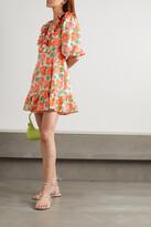 Thumbnail for your product : Rixo Lennon Ruffled Floral-print Cotton And Silk-blend Mini Wrap Dress - Orange