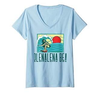 Womens Poolenalena Beach Hawaii Vintage Surfer & Wave Retro V-Neck T-Shirt
