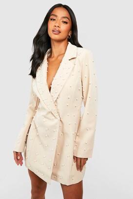 boohoo Petite Pearl Detail Blazer Dress