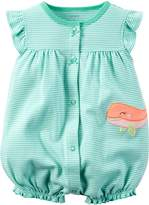 Carter's Baby Girls' Cotton 1-piece Snap-Up Romper (3 Month, Teal Blue)