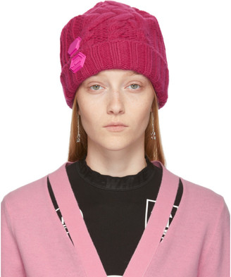 Off-White Pink Knit Pop Color Beanie