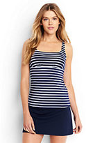 Lands' End Women's Mastectomy Underwire Squareneck Tankini Top-Deep Sea/White Media Stripe