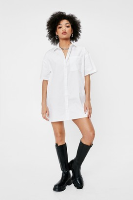 Nasty Gal Womens Out of the Boxy Petite Shirt Dress - White