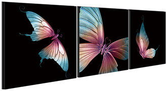 Chic Home Design Butterfly 3Pc Set Wrapped Canvas Wall Art