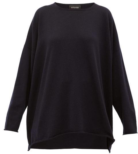 eskandar Boat-neck Cashmere Sweater - Navy