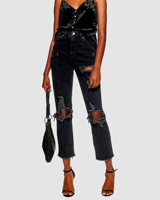 Topshop Ripped Straight Jeans