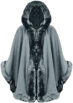 RIDDLED WITH STYLE Ladies Celebrity Faux Fur Trim Hooded Coat#( Faux Fur Hooded Cape Coat##Women#Freedom)