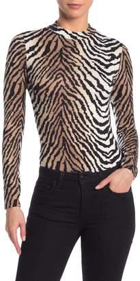 Blvd Mock Neck Tiger Print Bodysuit