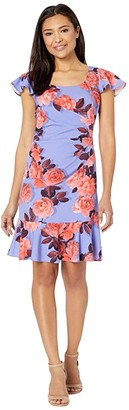 Adrianna Papell Photo Floral Flounce Dress (Peri/Coral) Women's Dress