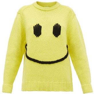 JoosTricot Smiley-embroidered Wool-blend Sweater - Womens - Yellow