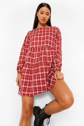 boohoo Checked Ruched Detail Smock Dress