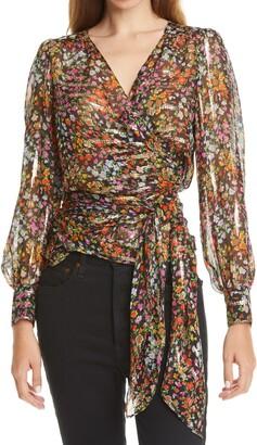 BA&SH Flaure Floral Silk & Metallic Blouse