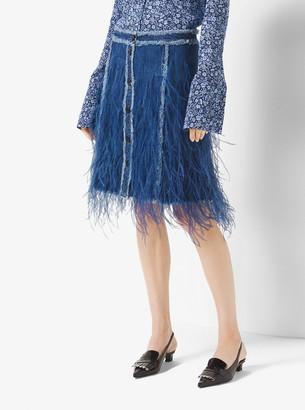 Michael Kors Feather-Embroidered Denim Skirt