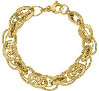 14K Polished & Diamond-Cut Interlocking Bracelet, 7.5g