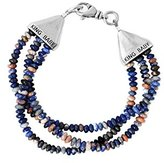 King Baby Studio Women's 925 Sterling Silver Triple Strands Orange Sodalite Beads Cone Clasp Bracelet of Length 19.05cm