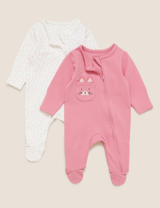 Marks and Spencer 2pk Cotton Cat Pocket Sleepsuits (7lbs-12 Mths)
