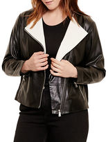 Lauren Ralph Lauren Plus Wool-Paneled Lambskin Moto Jacket