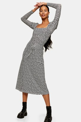 Topshop Black and White Star Print Mesh Midi Dress