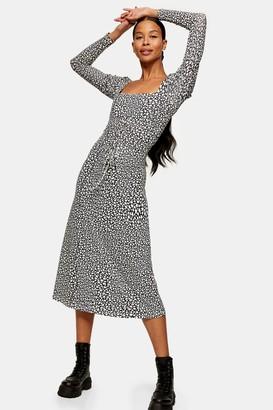 Topshop Womens Black And White Star Print Mesh Midi Dress - Monochrome