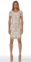 NUE by Shani Damask Printed Short Sleeve Fitted Cocktail Dress