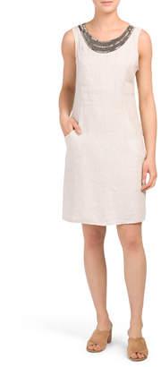 Made In Italy Beaded Neck Linen Shift Dress