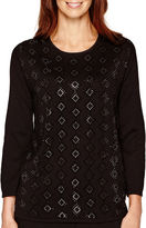 Alfred Dunner 3/4-Sleeve Beaded Sweater
