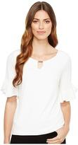 Calvin Klein Ruffle Sleeve Top with Bar Hardware Women's Clothing